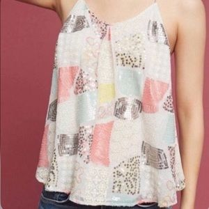 Anthropology floral sequins patchwork tank top L
